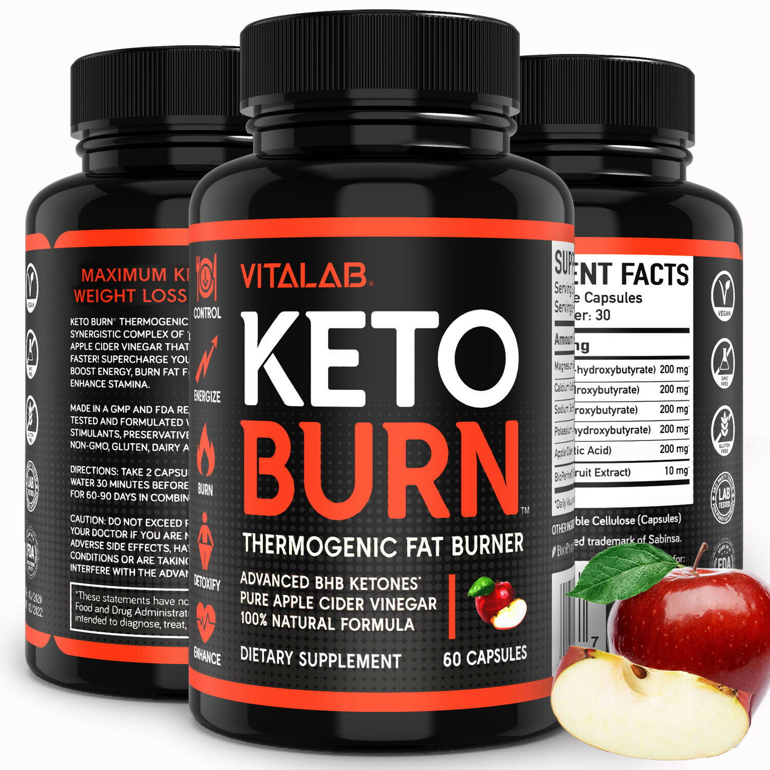 Weight Loss Pills Apple Cider Vinegar Capsules Fat Burner Keto Diet Supplements