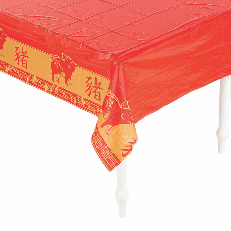 Year Of The Pig Plastic Tablecloth - Party Supplies - 1 Piece