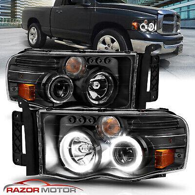 [LED Halo] 02-05 Dodge Ram 1500 2500 3500 Projector Black Headlights Corner Lamp