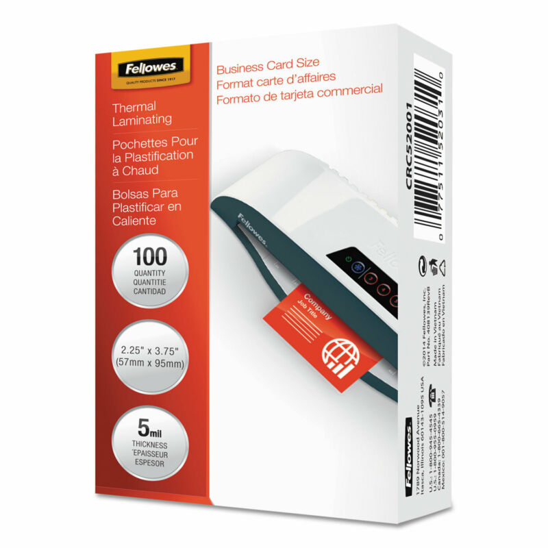Fellowes Laminating Pouches 5mil 2 1/4 x 3 3/4 Business Card 100/Pack 52031