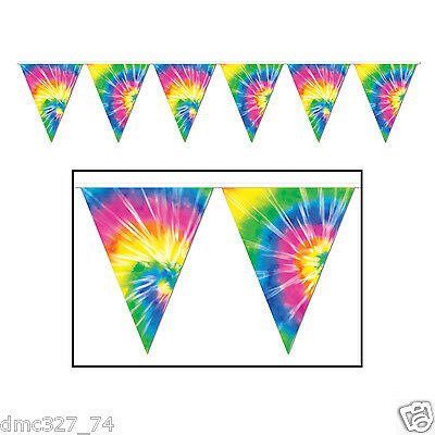 Groovy 60s Party Decoration HIPPIE Tie Dye Dyed Print Pennant FLAG BANNER (60s Decorations)