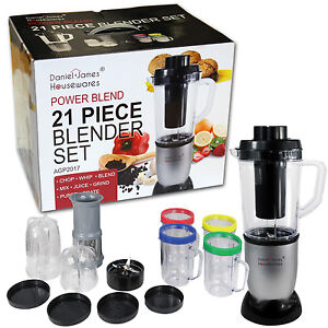 21 piece power blend blender set smoothie maker chopper grinder food processor ebay. Black Bedroom Furniture Sets. Home Design Ideas