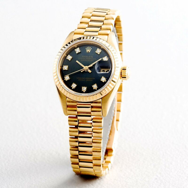 Ladies Rolex 18k Gold Datejust President Watch Factory Black Diamond Dial 69178
