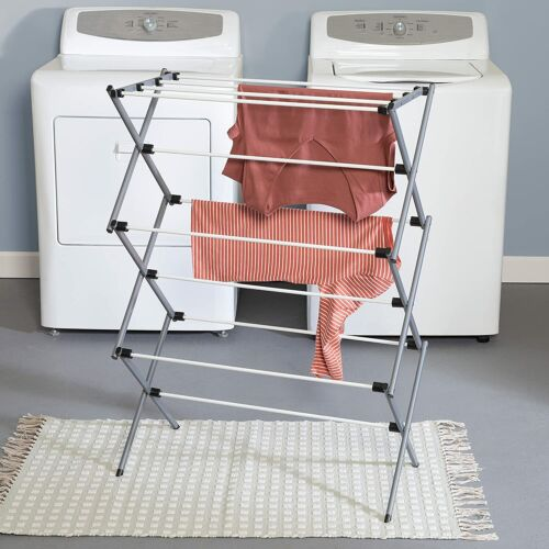 Folding Clothes Drying Rack Plastic And Steel For Laundry Room Easy Storage NEW