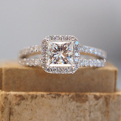 4.30 Carat Diamond Solitaire With Accents Engagement Ring 14K White Gold Over