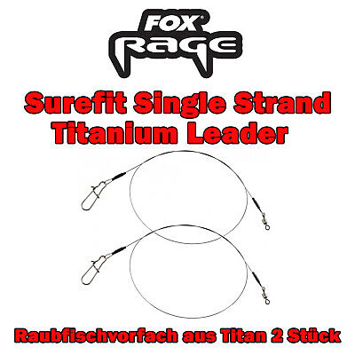Fox Rage Surefit Single Strand Titanium Leader 2 Stück Titanvorfach Hecht