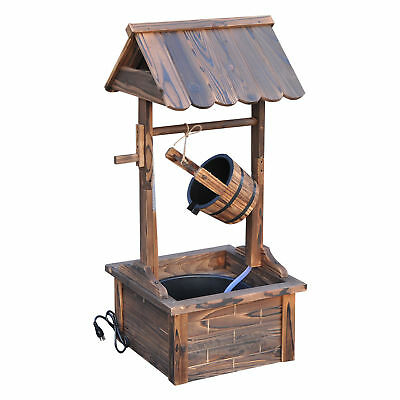 Wishing Well Wooden Outdoor Electric Water Fountain Backyard Decorative w/Pump