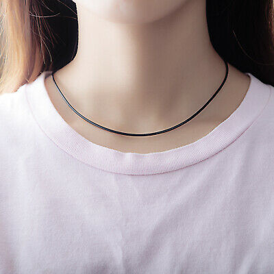 Black Waxed Leather Cord String With Clasp For Diy Necklace Jewelry Rope Chain ()