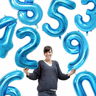 t Zahl Geburtstag Jubiläum Party Deko Ballon Blau - wählbar (Jubiläum Ballon)