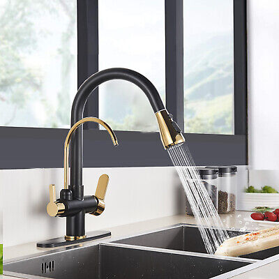 Kitchen Sink Faucet Pull Down Sprayer Swivel With Deck Plate Gold Colors& Black