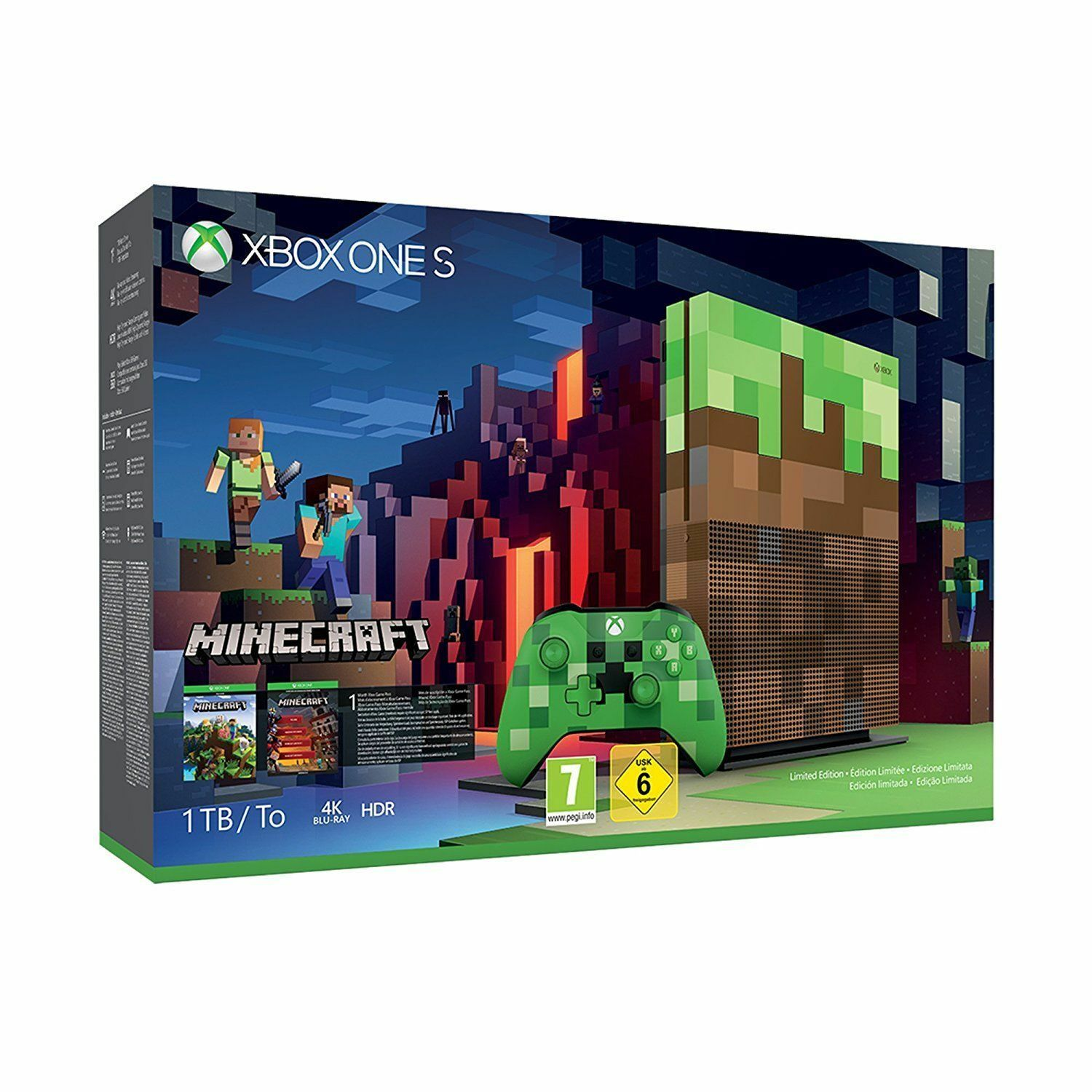 Microsoft Xbox One S Minecraft Bundle 1TB Grün & Braun Konsole Limited Edition