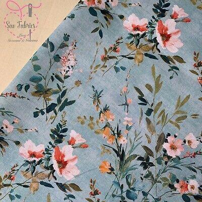 """John Louden Blue Meadow Floral Fabric 100% Cotton 60"""" Wide Width"""