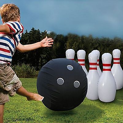 Inflatable Bowling Set Large Ball pins Bowler PUMP In/Outdoor Play Gift New (Inflatable Bowling)