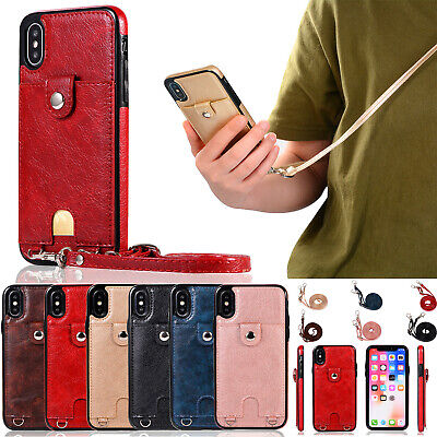 Cross Body Strap ID Card Slot Holder Wallet PU Leather Back Case Cover fr iPhone Cross Cell Phone Case