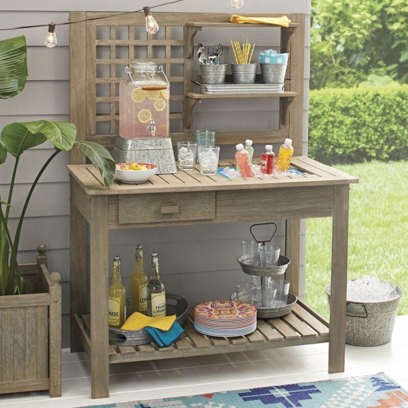 Better Homes & Gardens Camrose Farmhouse Outdoor Gray Color Potting Bench