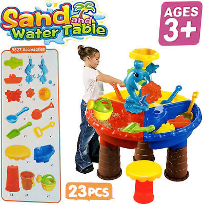 23Pcs Kids Sand Water Round Dolphin Table Stool Beach Garden Play Toys Set Gifts