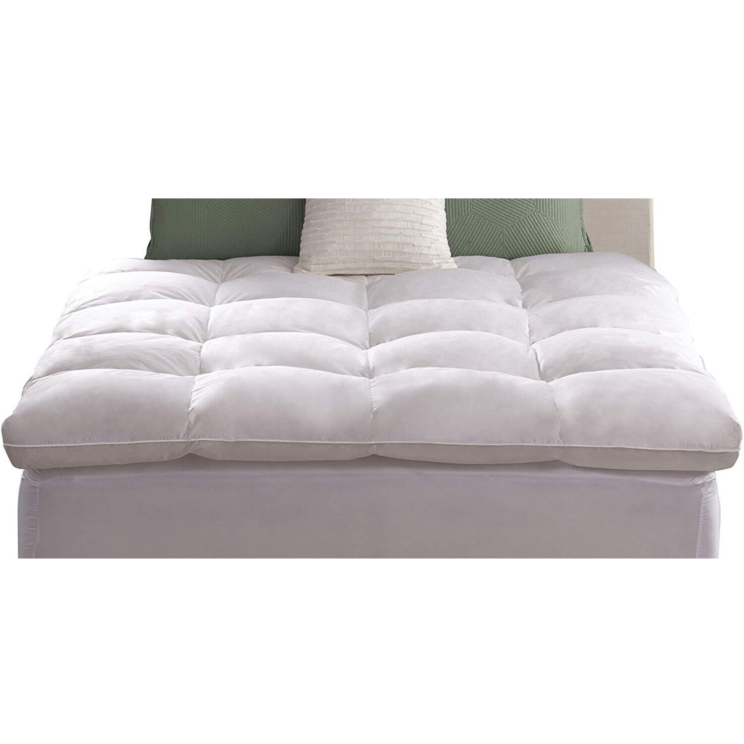 Extra Thick Matress Topper Feather Bed Luxe Loft Baffle Box Natural Fill Mattres