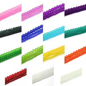 Frosted-Glass-Round-Beads-32-Strands-4mm-6mm-8mm-Choose-Color-Size