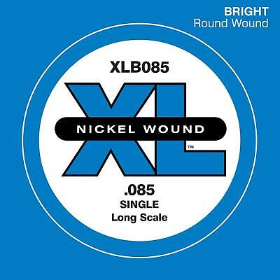 D'Addario XLB085 Nickel Wound Bass Guitar Single String, Long Scale, .085 (Nickel Wound Single Strings)
