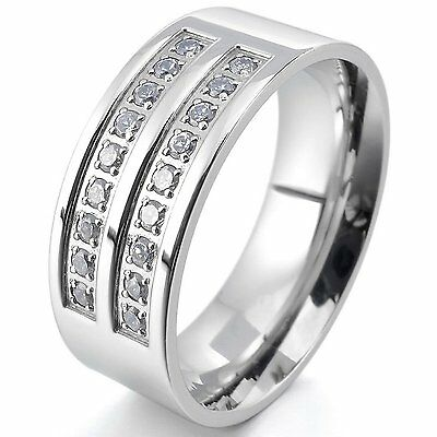 Men Women Stainless Steel Ring Gift CZ Zirconia Engagement Wedding Band Silver