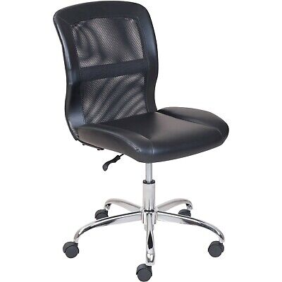Mainstays Vinyl And Mesh Task Office Chair Thick Black Cushion