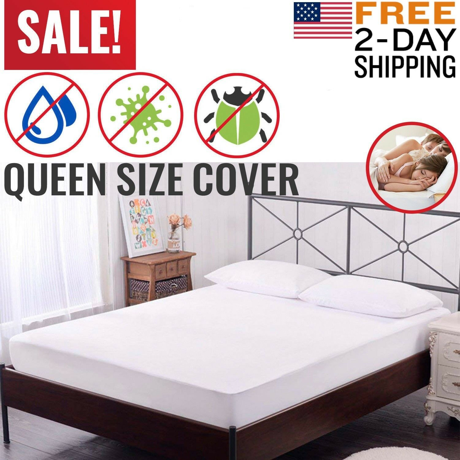 Mattress Cover Protector Waterproof Pad Queen Size Bed Hypoa