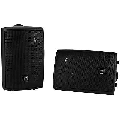 Dual 4 - inch 3-Way Indoor / Outdoor Speakers in Black - Pair