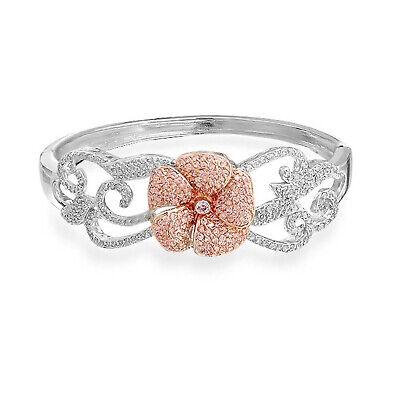 Two Tone Pink Rose Bangle Bracelet Prom Wedding CZ Silver Plate Brass