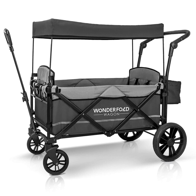 2-Passenger Stroller Wagon with Removable Canopy and 5-Point Harness (For Parts)