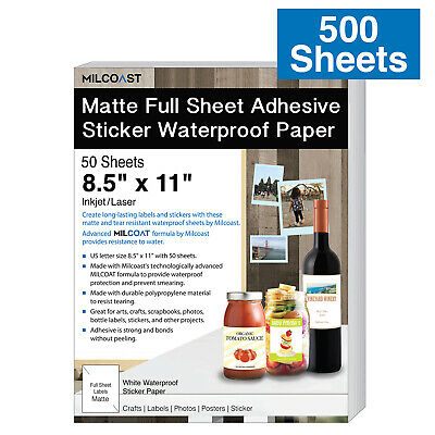 Lot 500 Sheets Matte Full Sheet 8.5 X 11 Adhesive Waterproof Paper Labels