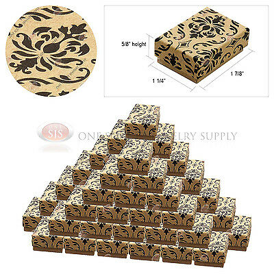 50 Kraft Damask Print Gift Jewelry Cotton Filled Boxes 1 78 X 1 14 X 58