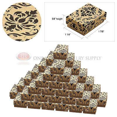50 Kraft Damask Print Gift Jewelry Cotton Filled Boxes 1 78 X 1 14 X 58