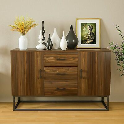 Modern Sideboard Buffet Storage Cabinet w/ 3 Drawers 2 Doors Console Table 2 Door Buffet