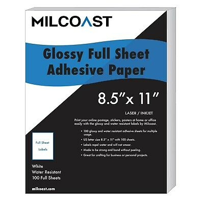 Milcoast Full Sheet 8.5 X 11 Shipping Sticker Paper Adhesive Labels Glossy ...