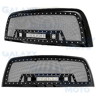 10-17 Dodge RAM 2500/3500 Rivet Black SS Mesh Grille+Black Shell+ w/LED Lights