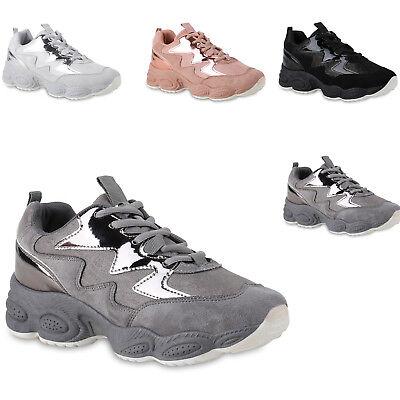 Damen Sneaker Lack Metallic Schuhe Moderne Plateauschuhe 824074 Trendy Neu Metallic-schuhe
