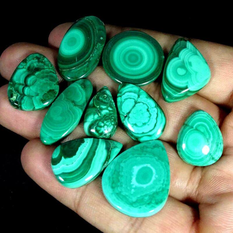 167.50Cts 100% Natural Royal Green Malachite Mix Cabochon Lot