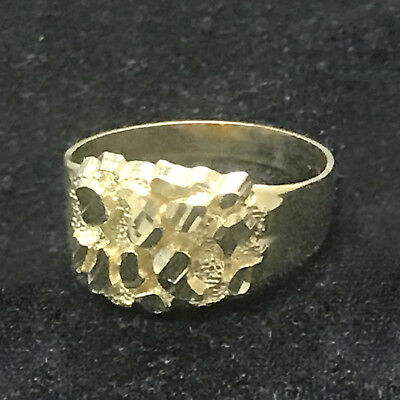 Fathers Day Special  Real 10K Yellow Gold Mens Small Nugget Style Pinky Ring