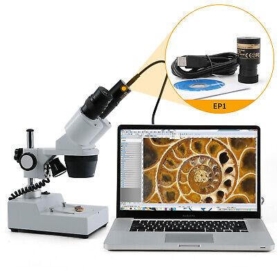 Swift 20x40x Stereo Binocular Microscope Led Light 1.3mp Usb Digital Camera