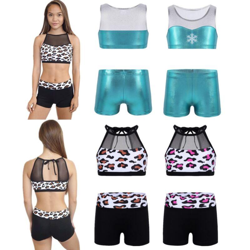 Sport Gym Outfit SwimSuit Girl Kid Gymnastic Ballet Dance Leotard Bra Top+Shorts