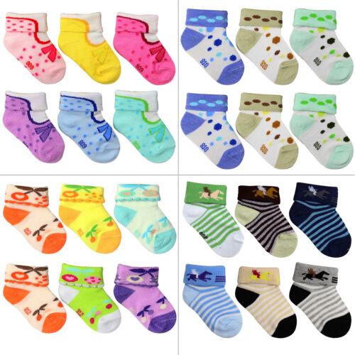6 or 12-Pack NEWBORN Unisex Infant Baby Socks 0-6 Month