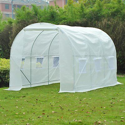 Outsunny Large Walk-in Greenhouse Poly Tunnel Galvanized Garden Plants Grow Tent