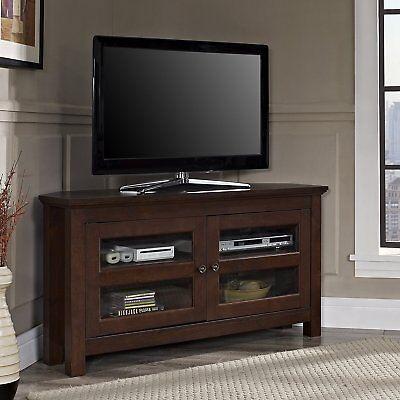 (Walker Edison 44-inch Cordoba Corner TV Stand Console in Brown, WQ44CCRTB New)