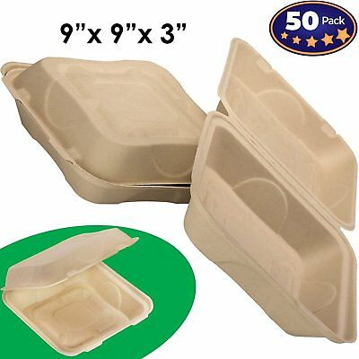 Biodegradable 9x9 Take Out Food Containers with Clamshell Hinged Lid 50 Pack... - Take Out Containers