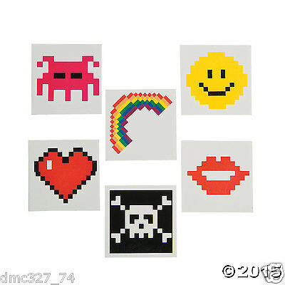 72 Totally 80s Video Game Themed Party Favors Temporary PIXEL Design TATTOOS (80s Party Themes)