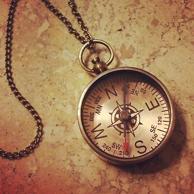 Compass Necklace, Copper Finish, Nautical, Vintage Style Pendant and Chain