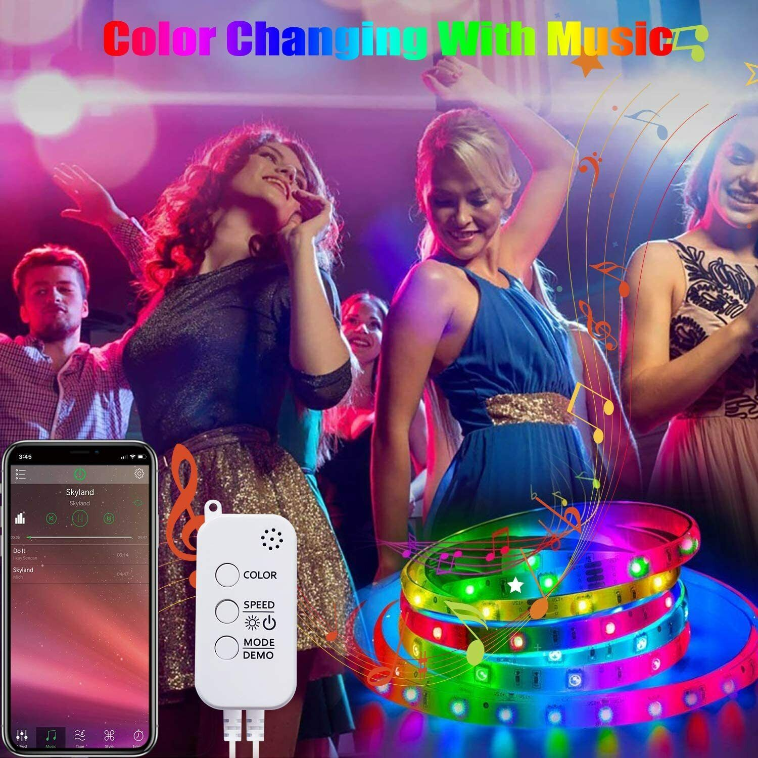 32.8FT Smart LED Strip Lights,Music Sync Color Changing Wifi