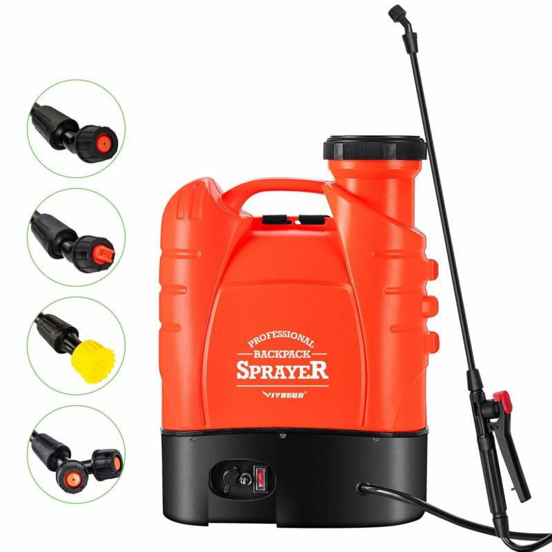 VIVOSUN 4 Gallon Battery Electric Pump Sprayer Powered Backpack Sprayer Four Noz