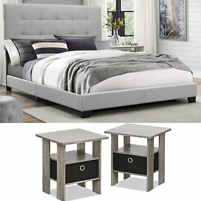 3 Piece King Size Bedroom Set Furniture Modern Design Fabric Bed Headboard Grey
