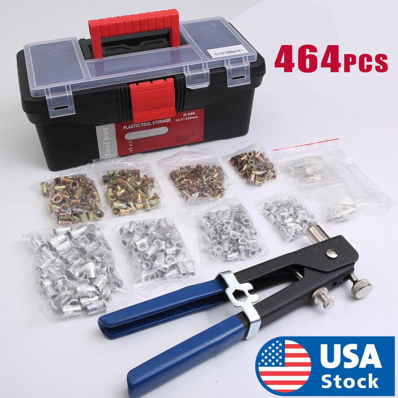 464 PCS Heavy Duty Blind Rivet Nut Rivnut Nutsert Insert Tool Rivnuts Set Kit Hand Tools